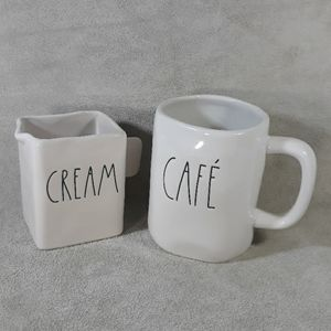 RAE DUNN cafe and cream mug and container